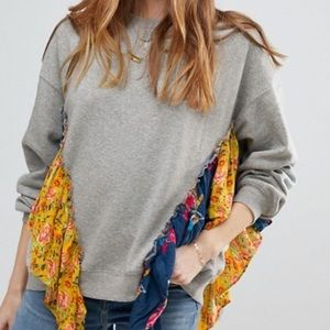 Free People She's Just Cute Draped Ruffle Pullover